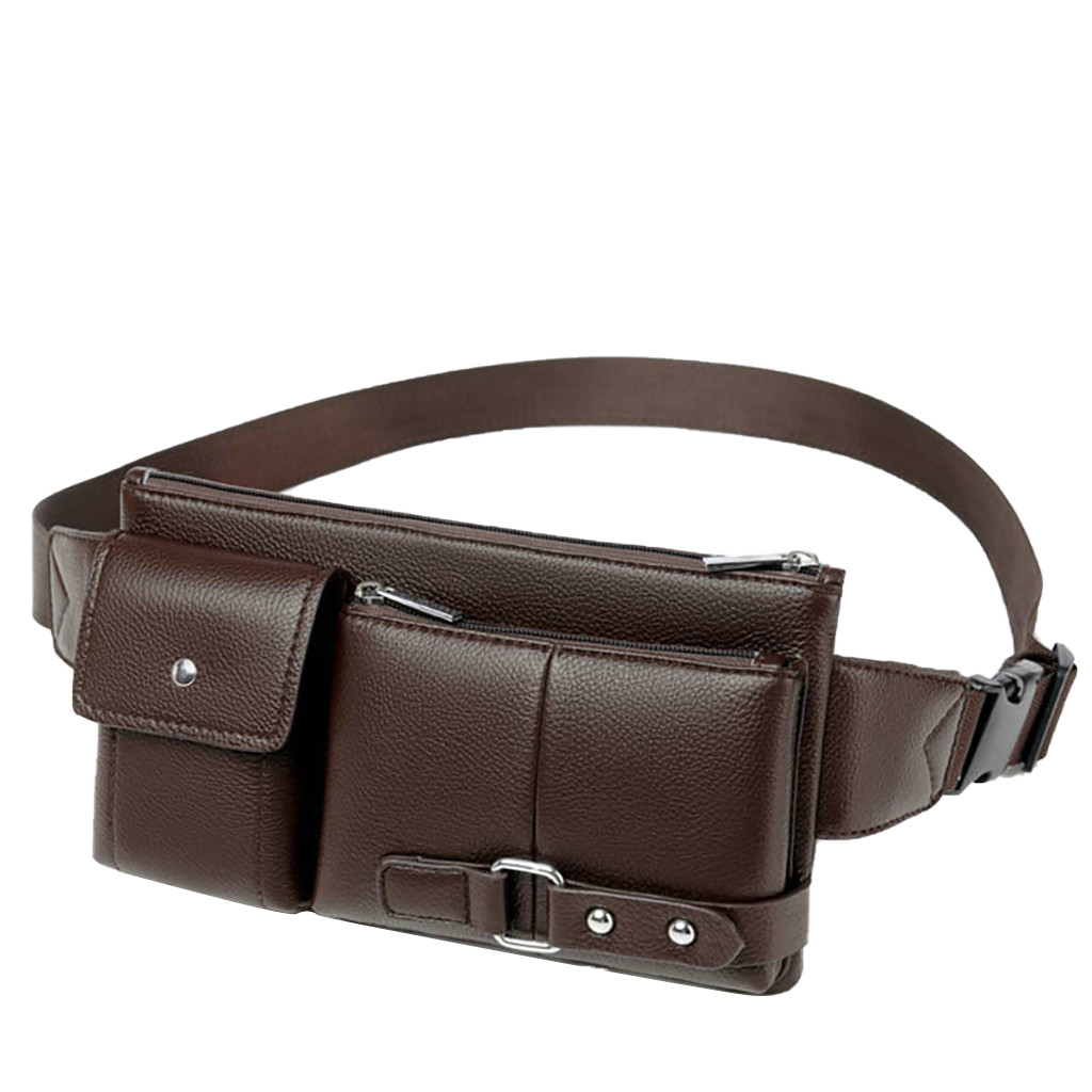 Leather Waist Bag Men Retro Multi-Function Pockets Outdoor Sports Leisure Messenger Chest Bag Belt Bags#Y35