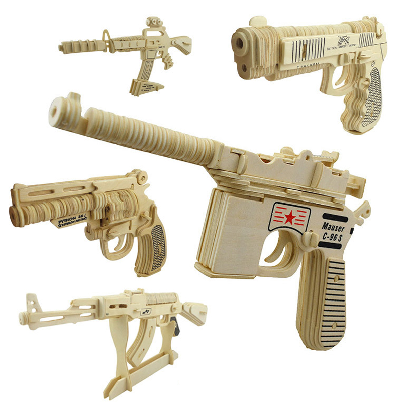 Us 6 95 45 Off 1pcs 3d Diy Wooden Toy Gun Crafts Model Kids Toys Puzzle Wooden Toys Wood Puzzle Assembling Educational Toys For Children In Puzzles