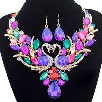 Bridal Couple Swan Heart Amethyst Gold Gown Prom Choker Bib Wedding Necklace Earrings Jewelry Set