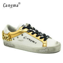 CANGMA Original Brand Gold White Vintage Woman Shoes Diamond Genuine Leather Sneakers Flats Bass Scarpa Women Shoes Crystal