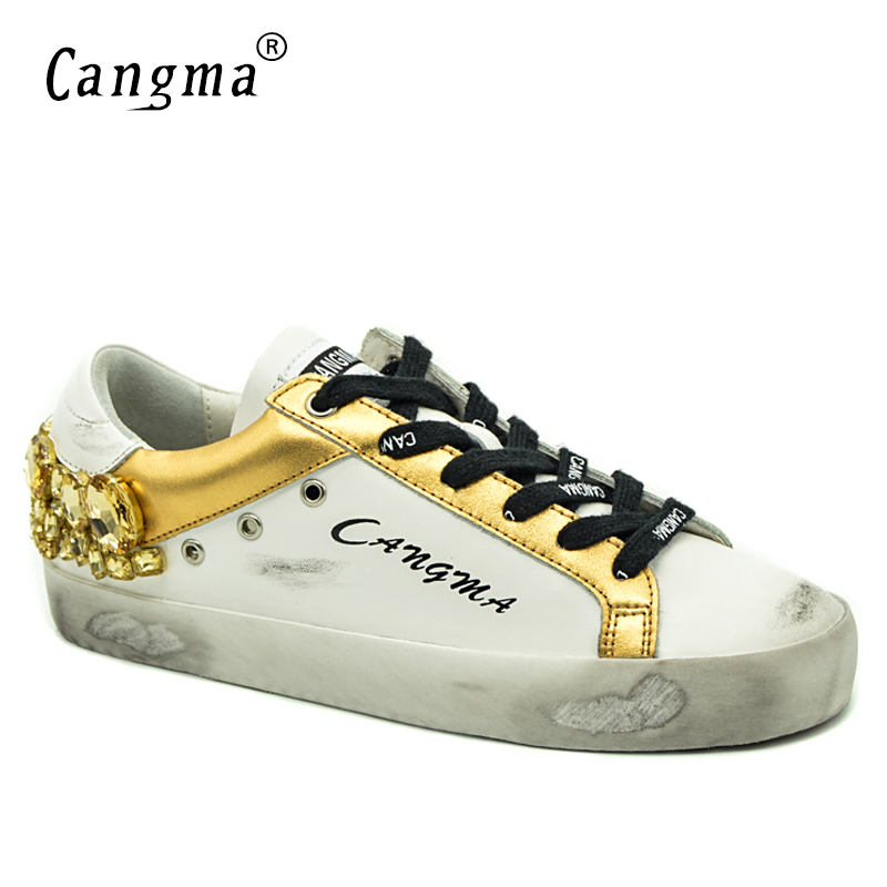 CANGMA Original Brand Gold White Vintage Woman Shoes Diamond Genuine Leather Sneakers Flats Bass Scarpa Women Shoes Crystal-in Women's Flats from Shoes    1