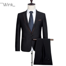 (Jacket + Pant) Men's Fashion Wool Suit Formal Patchwork Custom Casual With Pants Male Slim Fit Wedding Suits For Men Black E544