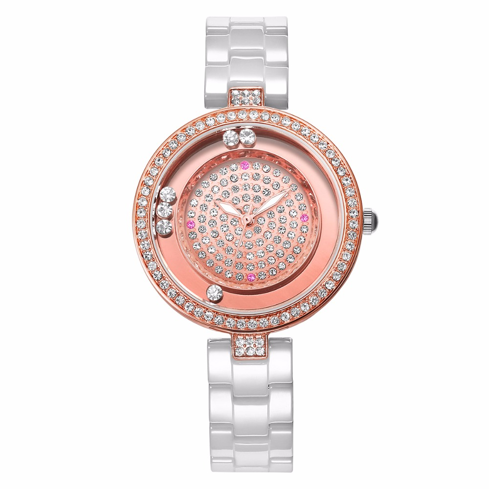 WEIQIN Women Watch Brand Luxury Ceramic Band Rhinestone Fashion Watches Ladies Rose Gold Wrist Watch Quartz Watch Reloj Mujer fashion minimalism ladies women rhinestone watch golden ceramic wrist watches items 1oey k882