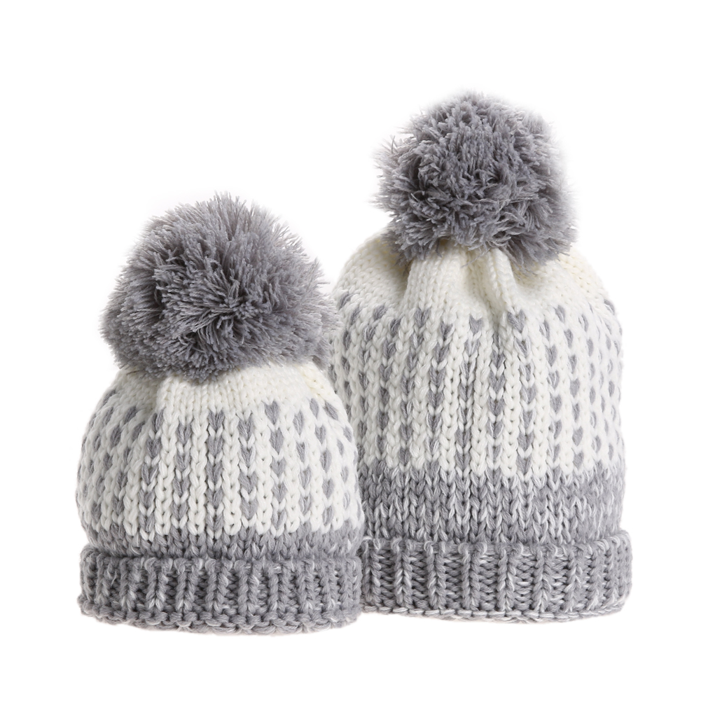 2pcs Winter Warm Mom and Baby Hat Fur Pom Pom Hats Fashion Knitted Bobble Beanie Caps Bonnet Kids Hat Parent Child Hats Caps