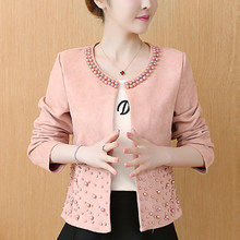 chaquetas mujer 2019 long sleeve autumn jacket women clothes plus size 4XL pink elegant beading outwear women jacket coat A295(China)