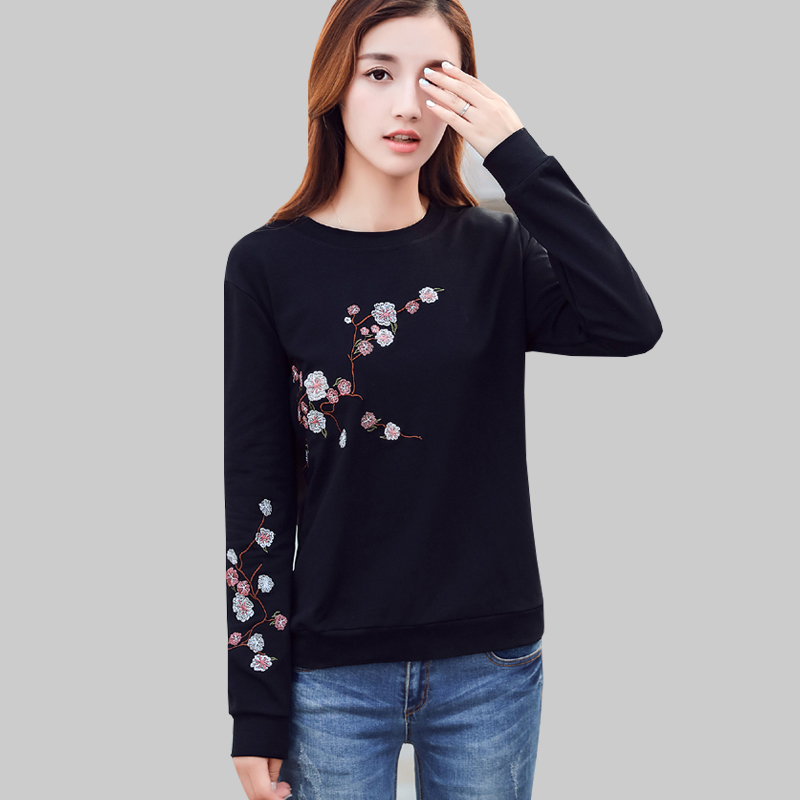New Women Fall 2019 Korean Pullover Long Sleeve Floral Embroidery Sweatshirt Woman Clothes Plus Size Sudadera Mujer Sweat Femme