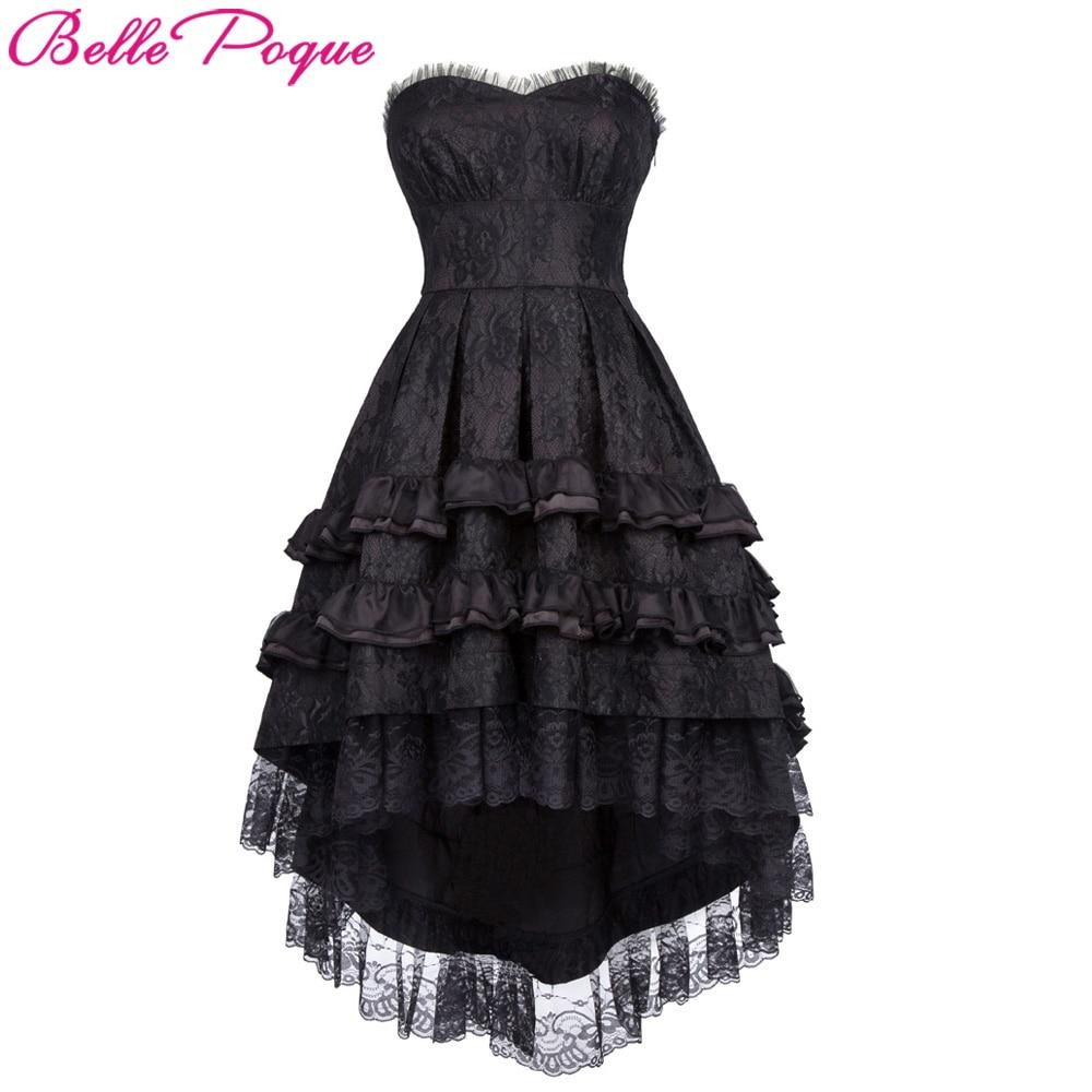 Belle Poque Femmes Rétro Vintage Robe D'été Dentelle Noble Swallow Queue Queue D'aronde Noir Lolita Cocktail Gothique Punk Robes