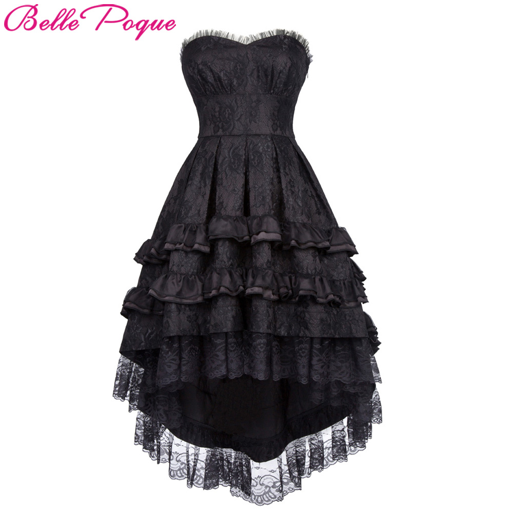 Belle Poque Women Retro Vintage Summer Dress Lace Noble Swallow Tail Dovetail Black Lolita Cocktail Party Gothic Punk Dresses
