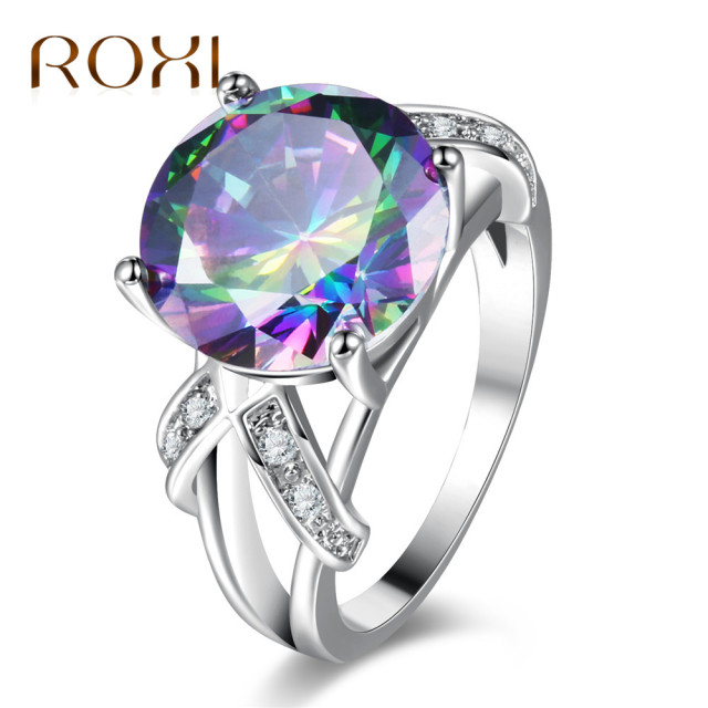 women titanium silver gemstone engagement rainbow ring rings colorful steel s