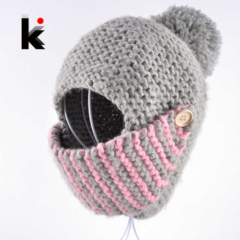 2018 winter russia balaclava bomber woman hat hand-knitted cap face mask hats for woman
