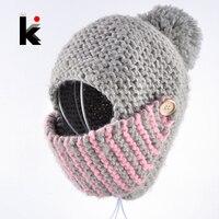 2018 зимняя Россия Балаклава бомбер женская шляпа ручной вязки шапка маска для лица шапки для женщин