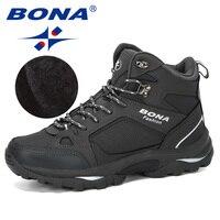 BONA Men Boots Anti Skidding Leather Shoes Men Popular Comfy Spring Autumn Men Shoes Short Plush Snow Boots Durable Outsole