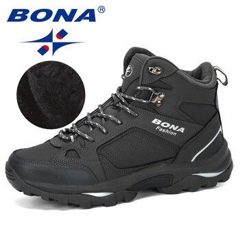Botas de hombre BONA zapatos de cuero antideslizantes para hombres populares cómodos primavera otoño hombres zapatos cortos botas de nieve de felpa duradero suela