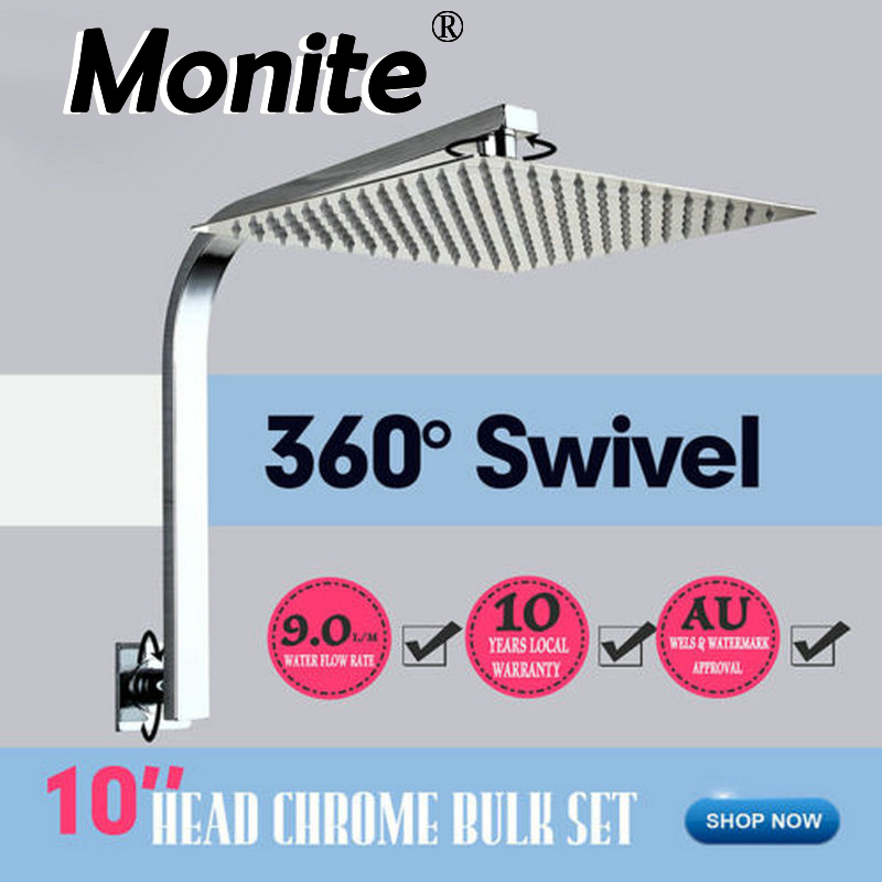 10 inch Shower Head 250x250 Bathroom Wall Mounted Square Rainfall Shower Head Mixer Chrome Finish Sprayer Tap