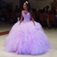 Lilac Girls Quinceanera Dresses Sparkly Beadings Puffy Ruffles Tulle Sweet 16 Prom Birthday Wear Cap Sleeves Corset debutante