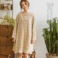 Mori Girl Harajuku Retro Ethnic Hippie Boho Lolita Tunic Rockabilly Sweet Cotton Linen Embroidery Floral Women Spring Fall Dress