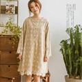 Mori chica harajuku retro étnica hippie boho túnica rockabilly sweet lolita de algodón de lino bordado floral de las mujeres primavera otoño dress