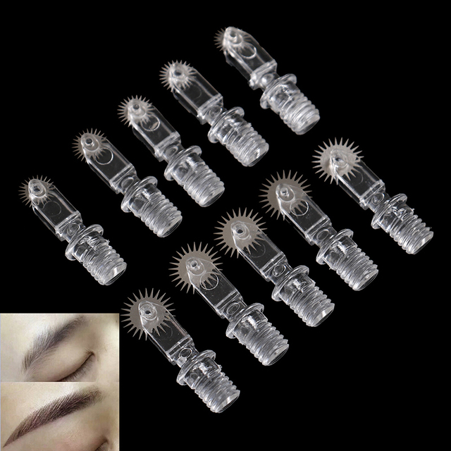 5pcs/sets Portable Roller Microblading Needles Tattoo Eyebrow Fog Embroidery Pin For Permanent Makeup Micro Manual Pens