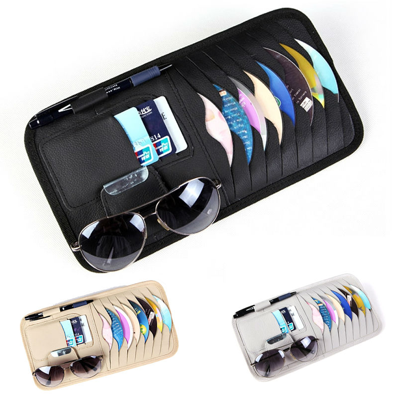 Car CD DVD Holder Disc PU Leather Storage Media Case Sunglasses Card Organizer Sun Visor Sunshade Sleeve Wallet Clips