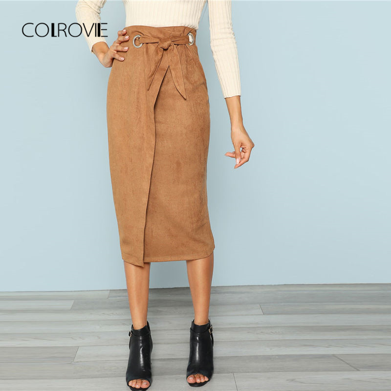 COLROVIE Brown Solid Workwear Tie Waist Wrap Bodycon Long Skirt 2018 Autumn Midi Skirts Women Elegant OL Pencil Skirts
