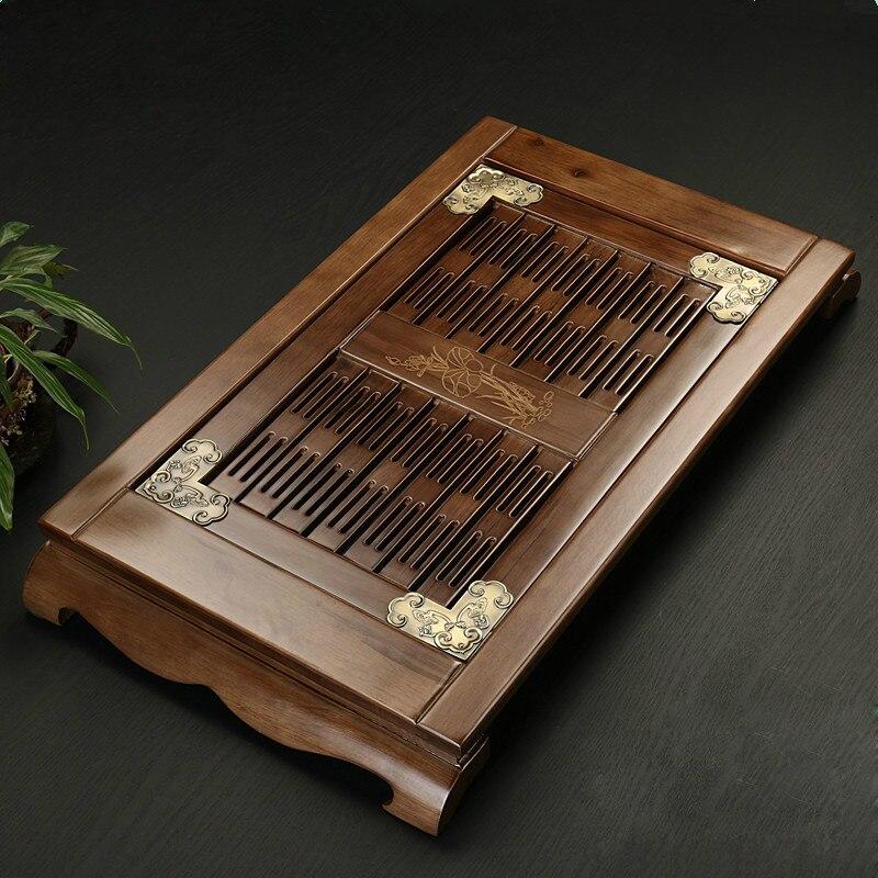 Plateau à thé en bois massif chinois Teaware Kung Fu ensemble de thé sculpture Table tiroir Type stockage Drainage thé conseil Vintage décor à la maison