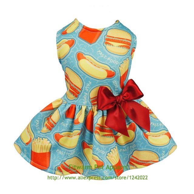 a98e7677eeffb US $12.99 |Aliexpress.com : Buy Fitwarm Hamburger Pet Clothes for Dog  Dresses Cat Vest Shirts Blue Free Shipping XS Small Medium Large Summer ...