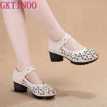 GKTINOO Summer Leather Comfortable Ladies Mid Heel Sandals Women Shoes Hollow Round Toe Square Heels Sandals Woman