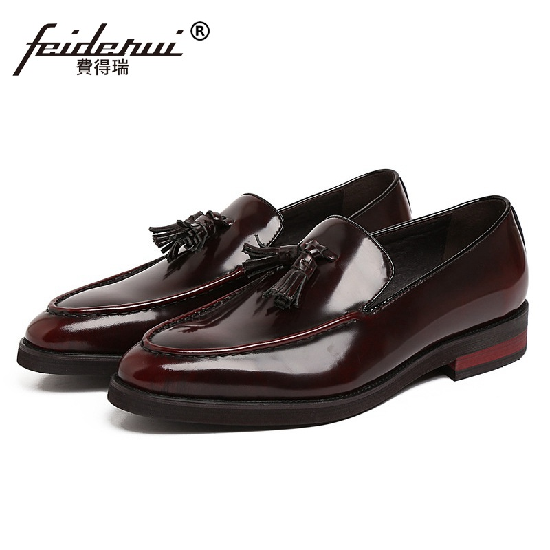 Round Toe Slip on Tassel Man Casual Shoes Patent Leather Male Office Loafers Luxury Designer Brand Comfortable Men's Flats KE70 high quality women oxfords low heel casual shoes patent leather tassel comfort slip on round toe creeper black loafers