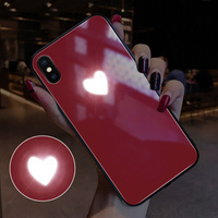 EKIND Heart series Tempered Glass Phone Case for iPhone X XS XSMAX Led LOGO flash Glass Case For iPhone Protective Phone Cover