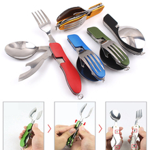 3 in 1 Folding Stainless Steel Spoon Fork Knife Tableware Camping Hiking Folding Picnic Portable Cutlery Set Knife for food Fork стоимость