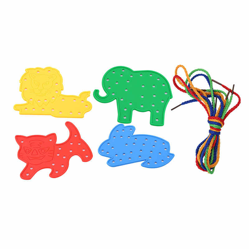 Child Kids Toy Animal Lacing Shapes Threading Laces Education Toys Tool Rabbit Elephant Tiger Lion Animal Plastic Threading Toy