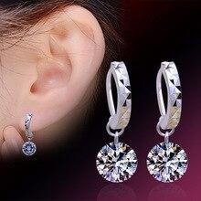 2017 New Women Silver stud Earring Luxury Bling CZ Bare Rhinestone Female Ear Jewelry Wholesale