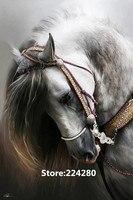 新しい針仕事、用刺繍、diy dmc白い馬動物カウントキャンバスクロスステッチキット、アートパターンカウントクロスステッチの装飾