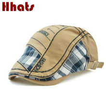 Which in shower Summer Men Casual Plaid Beret Hat Grid Ivy Flat Cap Cabbie Newsboy Style Gatsby Hat Adjustable Cotton Boina Hat(China)