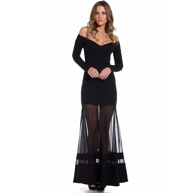 ab40531b658 RH70229 Black fierce maxi dress wholesale women clothing long sleeve black sexy  dress long plus size popular dresses women-in Dresses from Women s Clothing  ...