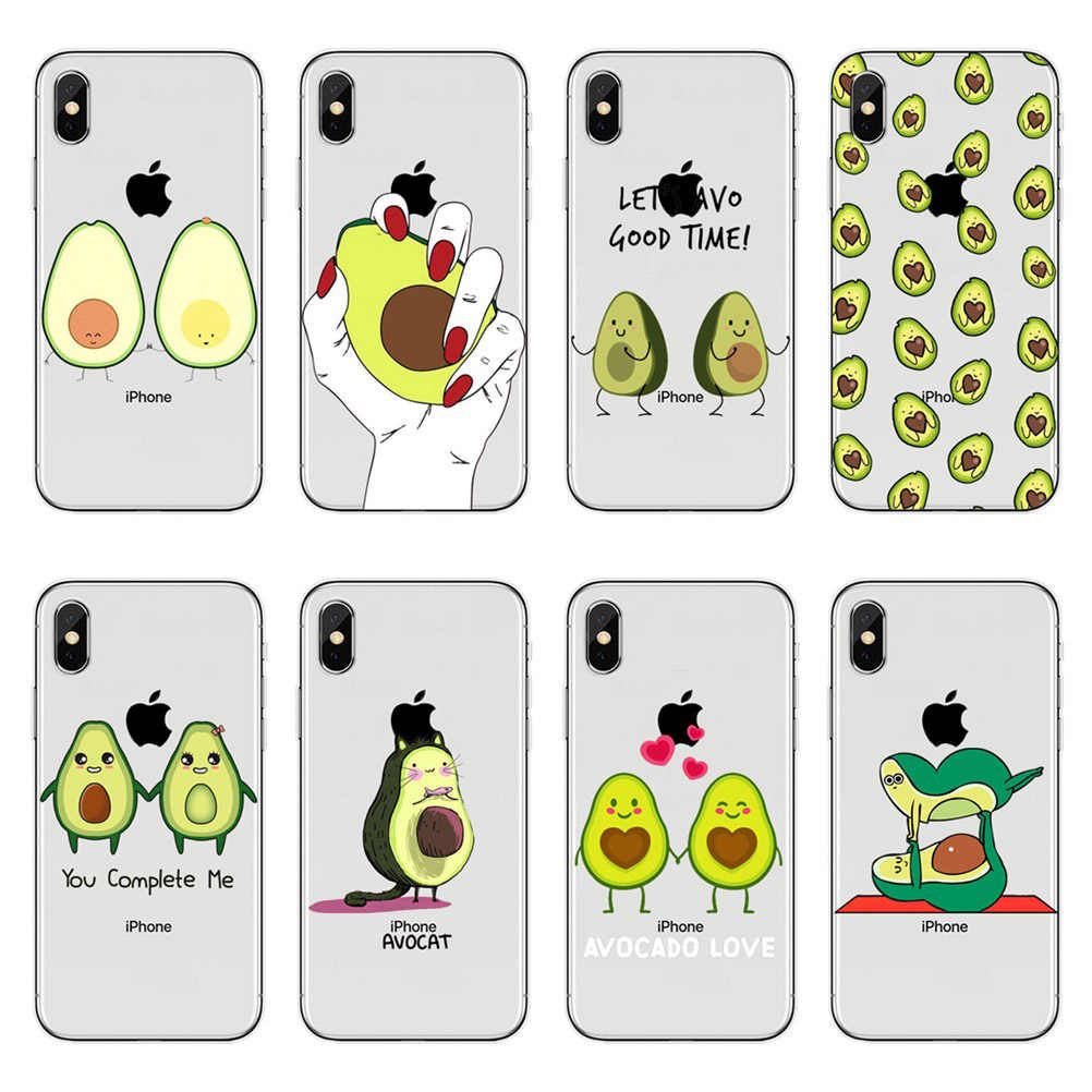 Cartoon lovely avocado soft TPU Phone Case For iPhone 5 5S SE 6 6S Plus 7 7 Plus 8 8 Plus X XS transparent Silicone Cover