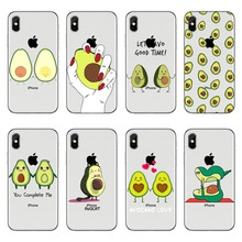 Cartoon lovely avocado soft TPU Phone Case For iPhone 5 5S SE 6 6S Plus 7 8 X XS transparent Silicone Cover