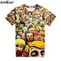 2016 3D 3XL anime The Walking dead T camisa dos homens engraçados camisas de manga curta t Zombie Enxame impresso tripulação pescoço tops de verão, ZA179