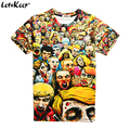 2016 3XL 3D anime The Walking dead camiseta para hombre divertido Enjambre Zombie impreso cuello redondo de manga corta camisetas tops de verano, ZA179