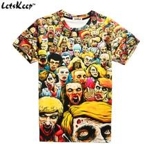 Plus size 2XL 3XL The Walking dead T shirt mens funny short sleeve t shirts Zombie 3D printed crewneck tops summer