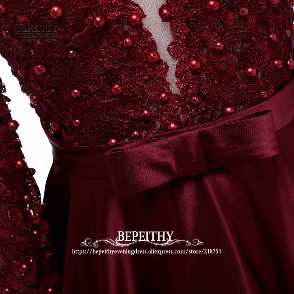 ... Enchanting Long Sleeve Prom Dresses V-Neck Sheer Back Lace Evening  Party Dress A- 7198ff0a6008
