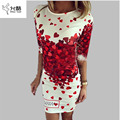 2017 Summer Dresses Women Sexy Party Club Bodycon Sheath Casual Elegant Dress Vintage Print Red Heart Lovely Dresses