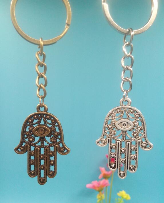 42x28mm Vintage Ancient Bronze Silver Eyes Hamsa Hand Charms Pendant Key Ring Keychain For Car Bag Decorative Key Chain