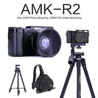 AMKOV AMK R2 24MP 1080P HD DSLR цифровая камера видео Запись DVR с 3 поворотный экран + широкоугольный объектив + штатив + Bagpack