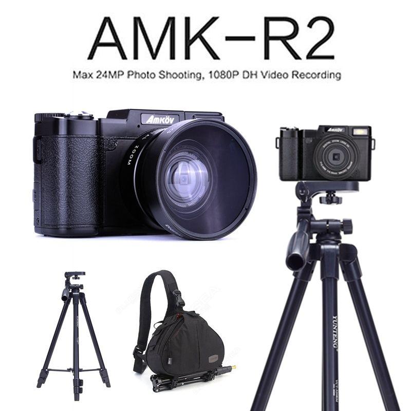 AMKOV AMK-R2 24MP 1080 P HD DSLR Appareil Photo Numérique enregistrement vidéo DVR avec 3 Écran Rotatif + Large-angle Lens + Trépied + Bagpack