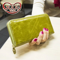 Ms. cross section leather purse first layer of wax leather clutch large capacity long section fashion hot new wallet