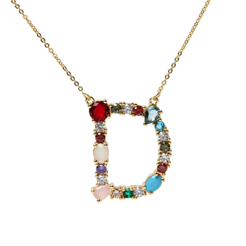 Large Colorful Rainbow Crystal Zicronia Alphabet Letter Pendant Necklace, CZ Micro Pave Intitial Pendant Chain Necklace Women