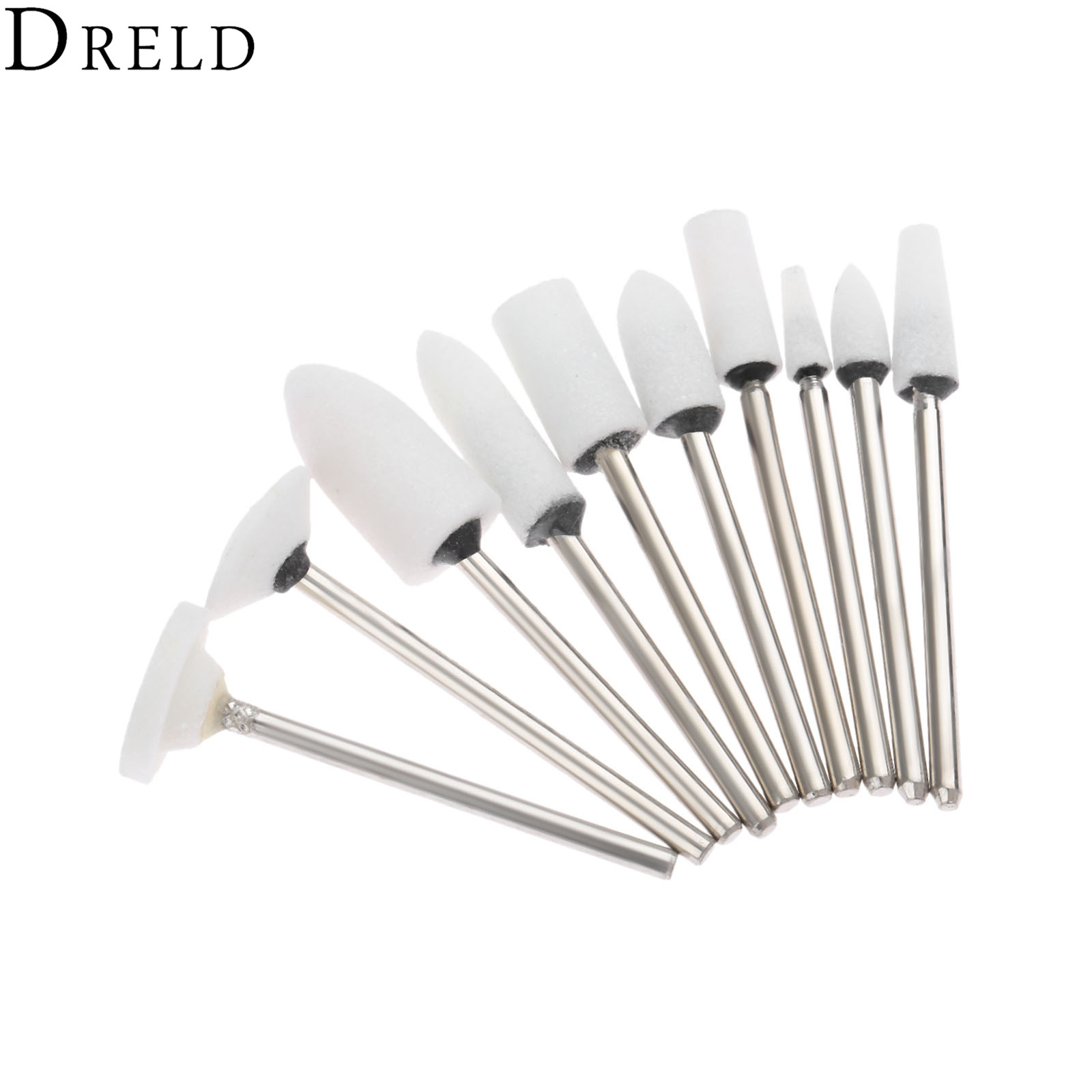 DRELD 10Pcs 2.35mm Shank White Buffing Polishing Grinding Head Dremel Accessories For Mould Finish Polish Grinder Rotary Tools