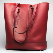 Women's new leather fashion bucket multi-color shoulder bag Cowhide leather shoulder casual high-capacity handbag цена 2017