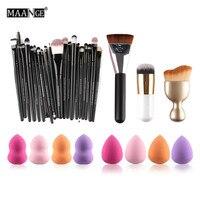 MAANGE 5152 20 Pcs Pincéis de Maquiagem Set 8 Pcs Esponjas de Maquiagem + S-Forma de Pincel Blush + Foundation Escova + Escova de Contorno Cosméticos